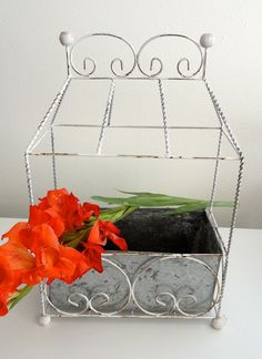Vintage Chippy Twisted Wire Metal Flower Planter by KimBuilt, $12.00