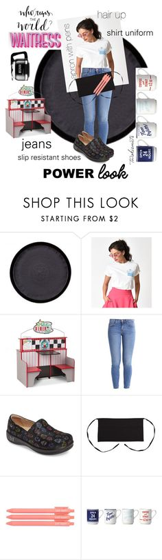 """""""#waitressgetup"""" by twokismets ❤ liked on Polyvore featuring Melissa & Doug, Current/Elliott, Alegria, Kate Spade, Bunn, girlpower, powerlook and twokismets"""