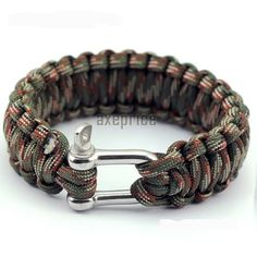 "23cm 9"" Stainless U Buckle Paracord Bracelet 550 Rope Survival Woodland Camo 