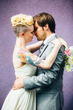 tattooed bride with undercut hair