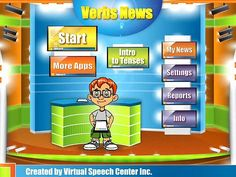 Verbs News. Verbs News is a fun and creative language-therapy app for the iPad created by a certified speech and language pathologist for students to learn and practice verbs in four different tenses (simple present, present continuous, simple past, and simple future). It has a total of over 190 regular and irregular verbs represented in beautiful real-life pictures.