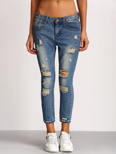 Distressed Skinny Ankle Jeans Pants