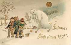 The Victorians Had a Much More Macabre Approach to the Festive Season: 25 Bizarre and Creepy Vintage Christmas Cards from the Victorian Era ~ vintage everyday Noel Christmas, Victorian Christmas, Vintage Christmas Cards, Vintage Holiday, Little Christmas, Christmas Pictures, Christmas Greetings, Christmas Postcards, Holiday Cards