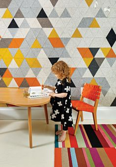 Boston renovation with Fitzfelt prototype felt mural, carpet by Flor, chair and table by Jens Risom for Knoll.