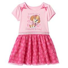 "Toddler Girl Paw Patrol Skye ""Pawsome Birthday"" Glitter Tulle Dress"