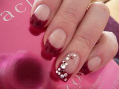 Nail Art Cherry gel mit Strass French Nail Art by pimpnails, via Flickr