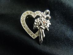 Vintage Rhinestone Brooch Pin Heart Silver Diamonds Flowers Valentines Day Red