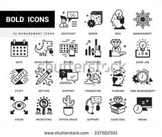 Bold vector icons in a modern style. Linear elements with potting black. Search and selection of staff, Support and Assistance in Problem Solving, Jobs in the Corporation - stock vector