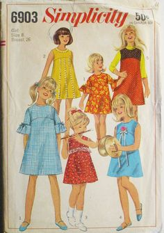 1960s Vintage Sewing Pattern Simplicity 6903 Girls One-Piece Dress or Jumper Pattern Size 8 Breast 26 by SewYesterdayPatterns on Etsy
