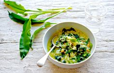 A frugal but utterly delicious soup using wild garlic, rice and beans (rinsed baked beans are fine for this - keeps it very cheap and cheerful). A soup for spring.