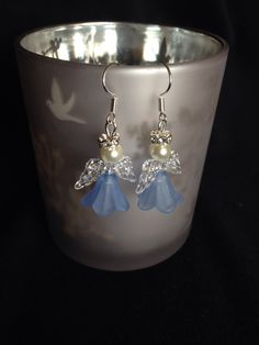 Light blue angel Christmas earrings