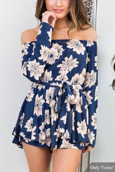 6d56cbe8304 Random Floral Print Off Shoulder Playsuit with Belt Tie Floral Playsuit