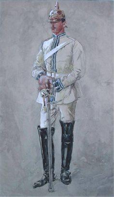 Het eerste werk is een Duitse Punthelm. Het is een Pruisische officier, een kurassier van Wilhelm l van Pruisen, te dateren ca. 1871 by Jan Hoynck van Papendrecht, (Dutch 1858-1933)
