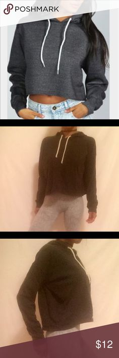 """Cropped charcoal grey edgy urban hoodie •brand new no tags  •ships tomorrow  •no trades  • true to size small  @goguios in insta 📸 (account manager) modeling Features:comfy sweater this style super popular in my shop from my brand but this I purchased for myself in h&m and  never used it once I received those in my shop :)  Please visit """"Closet Rules"""" for more info about us :) H&M Tops Sweatshirts & Hoodies"""