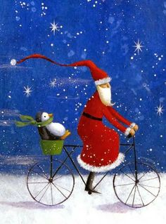 Santa Claus and penguin on bicycle Christmas illustration art by Jan Pashley.