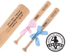 Custom bats that come in the exact length of your new born- TimberBats on Etsy, $49.00