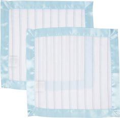 Blue & Grey Stripes With Blue Trim MiracleWare Muslin Security Blanket 2 Pack