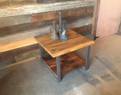 Reclaimed Oak Wood Coffee Table Metal Legs di wwmake su Etsy