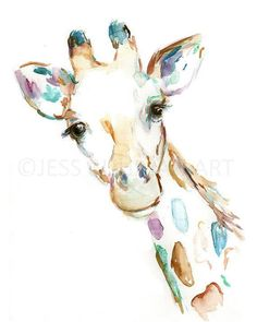 Joshua the Giraffe by Jessica Buhman This is an 11 x 14 poster print of my watercolor painting on poster paper. Will be rolled and placed in a tube for safe shipping. Artists signature will be printed in lower right. Please message with any special instructions or questions. I