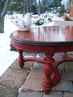 Pub Table Finished In Antique Red With Dark Kona Stained Tops - Dark red coffee table