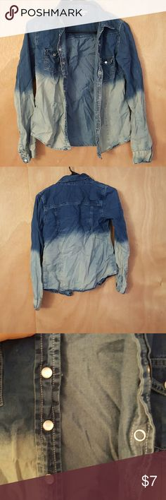 Ombre Denim Shirt Perfect for spicing up a simple outfit!  Very light, easy denim shirt. (wrinkles can easily be ironed out) Charlotte Russe Tops Button Down Shirts