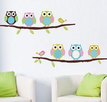 Wall sticker home decor bambini ragazza bambini baby room owl wall art poster cartoon camera da letto fai da te adesivi in vinile della decorazione della decalcomania(China (Mainland))