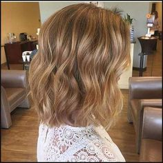Warm Blond Balayage On Shattered Bob Hair Cut Not A Boxed Blonde
