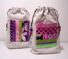 Linen drawstring pouches, perfect little storage bags, with a pieced pocket.