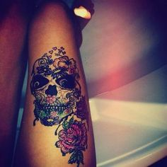 #skull #roses #thigh #sexy #tattoo #hearts #flowers