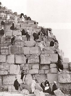 People climbing the Great Pyramid of Giza, c. 1885.