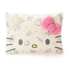 Sanrio Original Japan Hello Kitty Face Canvas Flat Multi Pouch Cosmetic Pouch