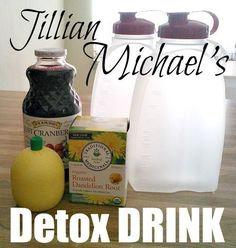 Jillian Michaels Detox and Cleanse Drink Ingredients 64 oz. purified water 1 bag Dandelion Root Tea 1 tablespoon pure Cranberry Juice 2 tablespoons Lemon Juice Jillian Michaels Detox and Cl Healthy Detox, Healthy Drinks, Healthy Tips, Healthy Eating, Healthy Recipes, Juice Recipes, Water Recipes, Healthy Foods, Vegetarian Recipes