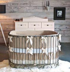 A rustic nursery with a Bratt Decor oval crib Chic Nursery, Rustic Nursery, Nursery Ideas, Themed Nursery, Nursery Decor, Girl Cribs, Baby Cribs, Nursery Furniture, Kids Furniture