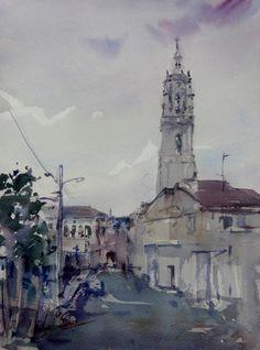 """""""Los Arcos"""" Navarra, Spain, watercolour by Jose María Sanchez, Granada, Spain, done for the ST.JAMES WAY / CAMINO DE SANTIAGO project"""