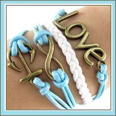 Pretty Blue & White Infinity Symbol Anchor Love Friendship wrap bracelet by SassyClassyCountry, $5.99 @Etsy