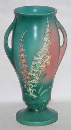 Roseville Pottery Foxglove Green Vase 54-15 from Just Art Pottery