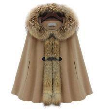 Trendy Mink Fur Collar Batwing Cape Poncho Cloak Hoody Woman Outwear Jacket Coat - Oohhh...