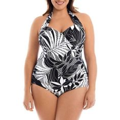 f5958ca142c Simply Slim Women s Plus-Size Retro Slimming One-Piece Swimsuit ...
