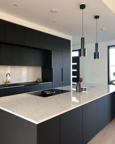 "32 Fabulous Black Kitchen Cabinets You Definitely Like - Are you considering the awe-inspiring beauty of black kitchen cabinets? Black is the new ""in color"" in kitchen design and décor. The effect can be ver. Luxury Kitchen Design, Kitchen Room Design, Kitchen Cabinet Design, Kitchen Layout, Home Decor Kitchen, Interior Design Kitchen, Kitchen Living, Kitchen Ideas, Living Room"