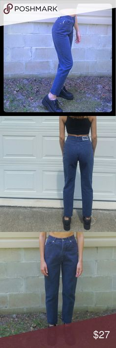 """High Waisted 90s Mom Jeans Will fit 24-25"""" waist. Gunmetal color. Make an offer, but please no major low-balling. Tag says 7.  Waist: 12"""" across  Inseam: 26"""" Pictured on a 25"""" waist, 5'4"""" tall BONGO Jeans Skinny"""
