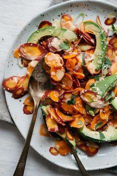 Julia's Shaved Carrot & Avocado Salad w/ Tahini | dolly and oatmeal