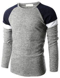 Doublju Mens Color Blocking Raglan Sleeve Crew Neck Sweater (KMOSWL069) #doublju