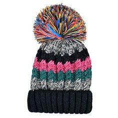 14bc3d6e969 Beanie Knit Slouchy Pom Pom Cap Winter Warm Crochet Ski Hat White Red Womens
