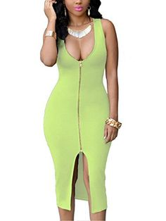 YMING Women Bodycon Sleeveless Party Evening Plus Size Dress,Green,M About the zip dress ——————————————————————— * Material: Polyester 90%, Spandex 10%; soft and stretch with good elastic * Condition: Brand New with Tag * Ideal for: Sexy zip dress clubwear, party wear, cocktail dress and evening dress, Show every last of sexy curve in this