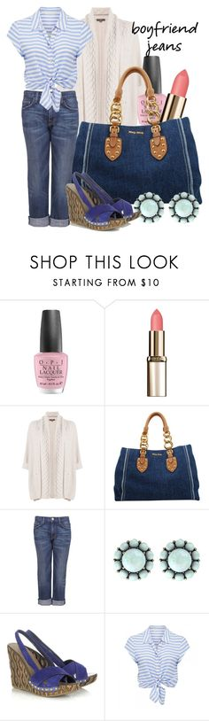 """Boyfriend Jeans"" by baratheon-girl ❤ liked on Polyvore featuring OPI, L'Oréal Paris, N.Peal, Miu Miu, Current/Elliott, Color My Life and Forever New"