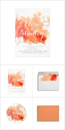 Modern Abstract Watercolor Splash And Maple Leaves Coral Peach Wedding Invitations Collection