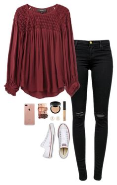 """School"" by halledaniella ❤ liked on Polyvore featuring J Brand, Isabel Marant, Bare Escentuals, Henri Bendel, Belkin, NARS Cosmetics, tarte and Converse"