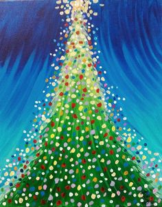 Dot Christmas tree painting idea for kids, teens, and adults. A fun Christmas art project for the holidays! Canvas Painting Projects, Christmas Paintings On Canvas, Christmas Tree Painting, Art Projects, Tree Paintings, Painted Christmas Tree, Christmas Tree Canvas, Acrylic Paintings, Santa Paintings