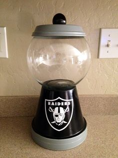 Oakland Raiders candy jar idea to resemble gum ball machine. DIY project.