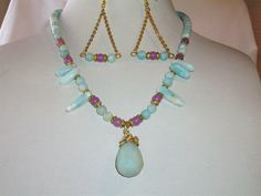 Beautiful Amazonite and Lavendar Jade Necklace by BormanRRRanch, $75.00